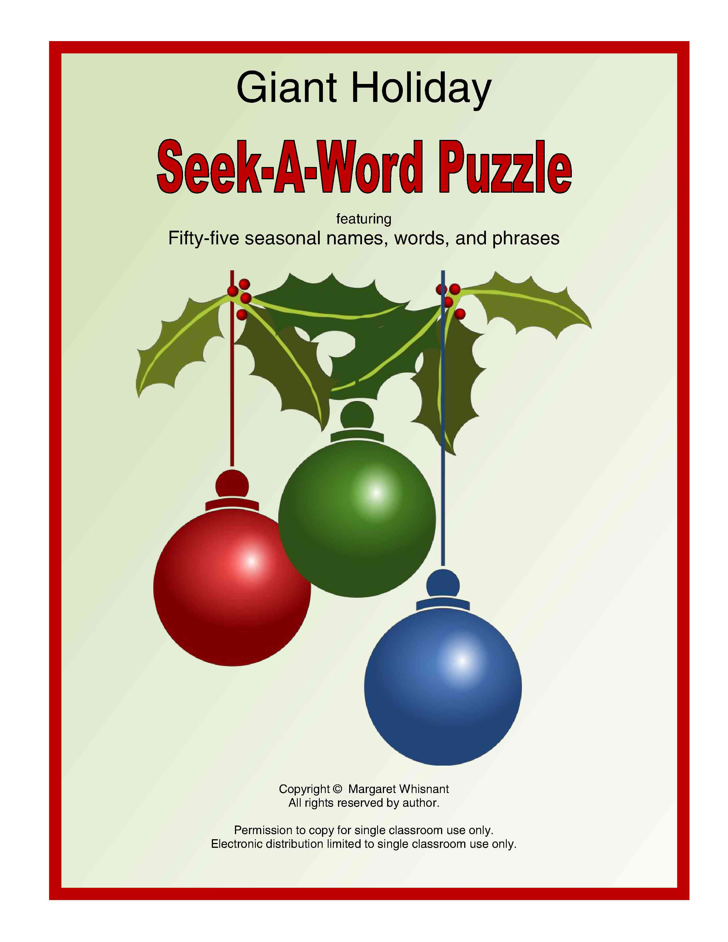 Go On A Search For 55 Different Holiday Related Names Words And Phrases All Hidden In One Puzzle